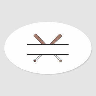 BATS WITH NAME DROP OVAL STICKER
