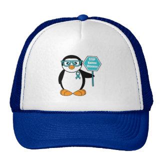 Batten Disease Awareness Penguin with a Stop Sign Cap