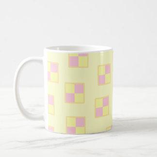 Battenburg Cake Pattern. Pink and Yellow. Basic White Mug