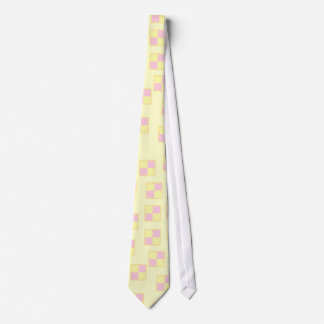 Battenburg Cake Pattern. Pink and Yellow. Tie