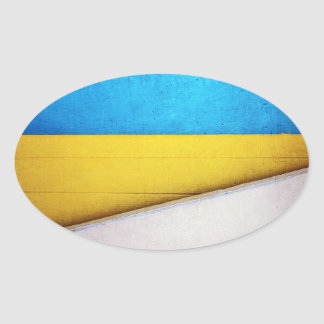 'Battered Building' Minimalistic Abstract Oval Sticker