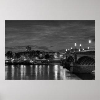Battersea Bridge and Chelsea at night Poster