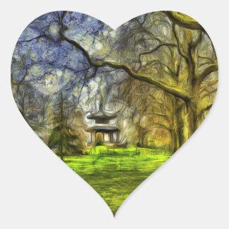 Battersea Park Pagoda Art Heart Sticker