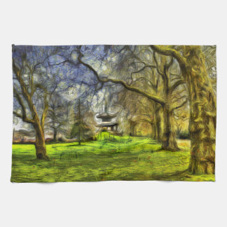 Battersea Park Pagoda Art Tea Towel