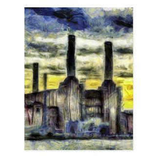 Battersea Power Station London Art Postcard