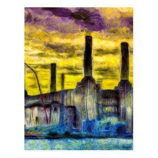 Battersea Power Station Sunset Art Postcard