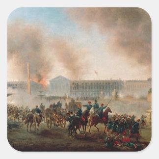 Battle in the Place de la Concorde, 1871 Square Stickers