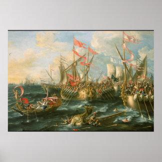 Battle of Actium Vintage Poster