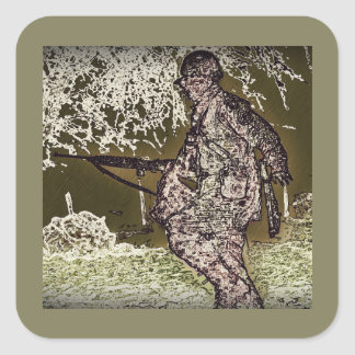 Battle of Bulge Soldier Silhouette Square Sticker