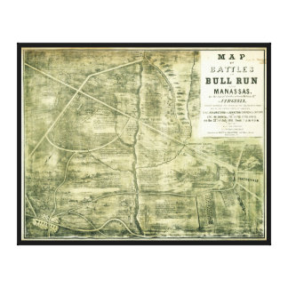 Battle of Bull Run Map by West & Jackson (1861) Canvas Print