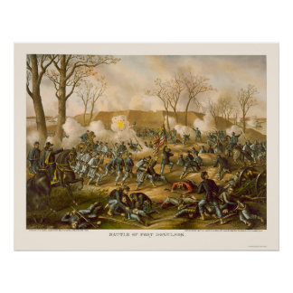 Battle of Fort Donelson by Kurz and Allison 1862 Poster