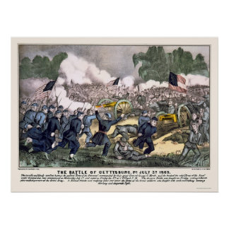 Battle of Gettysburg by  1863 Poster