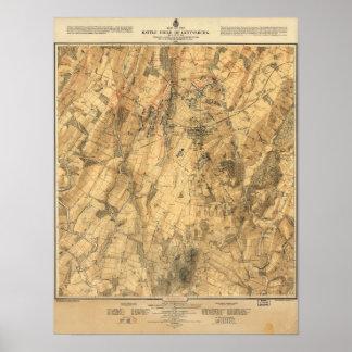 Battle of Gettysburg map Poster