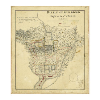 Battle of Guildford Map March 15 1781 Canvas Print