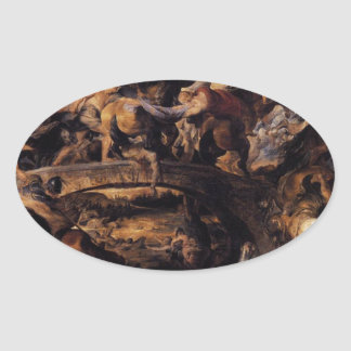 Battle of the Amazons by Peter Paul Rubens Oval Sticker