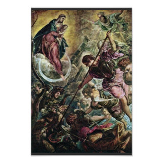 Battle Of The Archangel Michael With Satan By Tint Poster