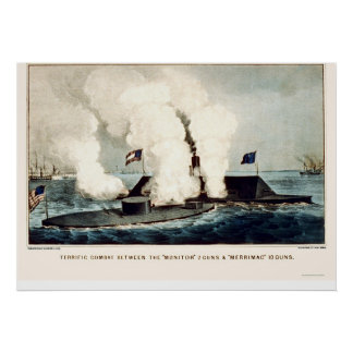 Battle of the Monitor and Merrimac 1862 Poster