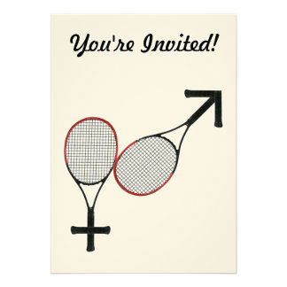 Battle of the Sexes Tennis Personalized Invitations