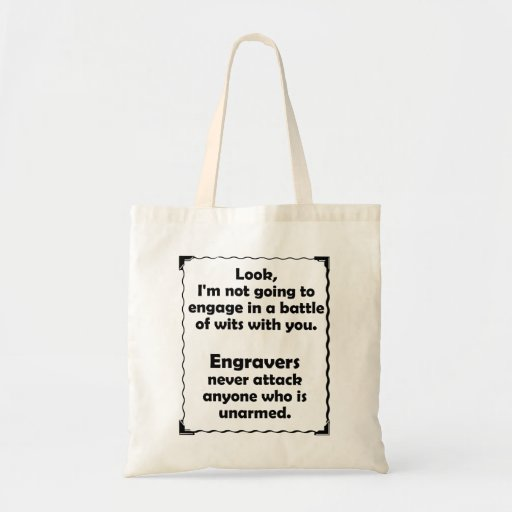 Battle of Wits Engraver Tote Bag