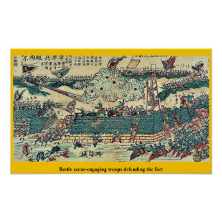 Battle scene-engaging troops defending the fort poster