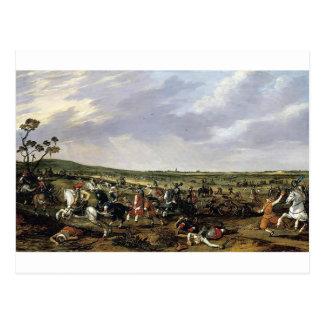 Battle scene in an open landscape postcard