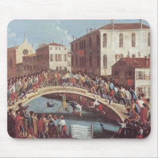 Battle with Sticks on the Ponte Santa Fosca Mouse Pad