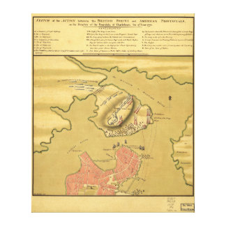 Battleground of Battle of Bunker Hill Map 1775 Stretched Canvas Prints