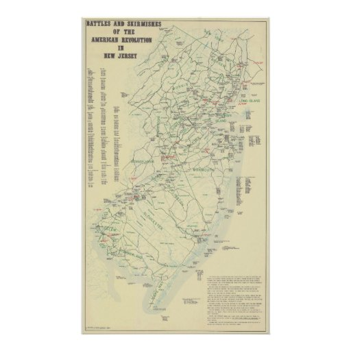 Battles of the Revolutionary War in New Jersey Map Photo Print