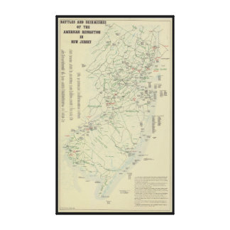Battles of the Revolutionary War in New Jersey Map Stretched Canvas Print