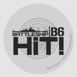 Battleship B6 Hit 2 Round Sticker