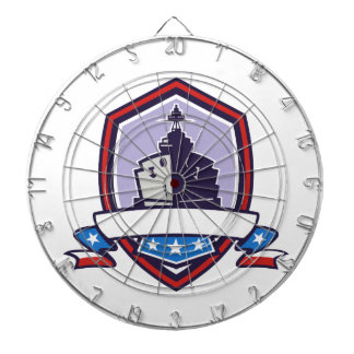 Battleship Stars Stripes Crest Retro Dartboard