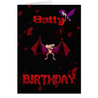 Batty Birthday Blood Bats Goth Emo Alternative Greeting Card