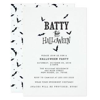 Batty For Halloween Party Card
