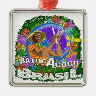 Batuc Agogo - Batucada Samba BBaC Silver-Colored Square Decoration