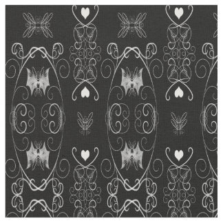 Batwing Hearts Damask Gothic Fabric