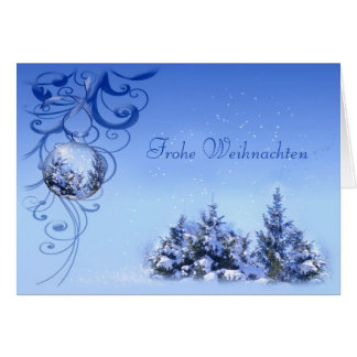 Baubles and snowy pine trees German Christmas Card