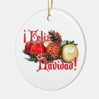 Baubles & Pine Cones - Feliz Navidad Ceramic Ornament