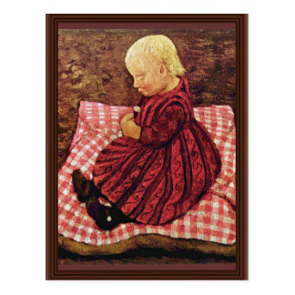 Bauer Child On Red-Checked Pillows By Modersohn-Be Postcard