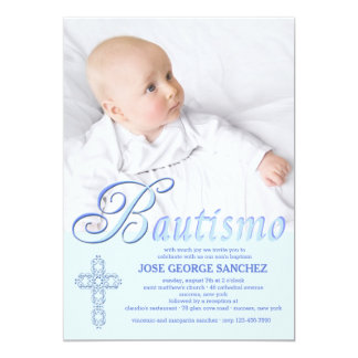 Bautismo Word Blue Photo Invitation