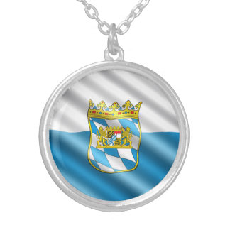 Bavaria flag silver plated necklace