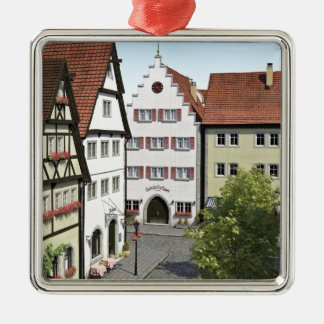 Bavaria Town From Above Silver-Colored Square Decoration