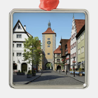 Bavaria Town Main Street Silver-Colored Square Decoration