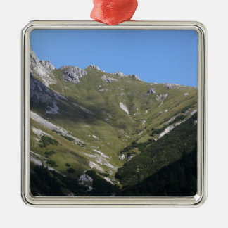 Bavarian Alps near Berchtesgaden Silver-Colored Square Decoration
