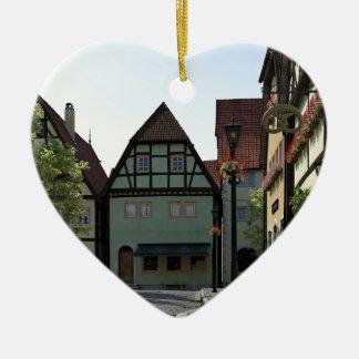 Bavarian Town Street Corner Scene Ceramic Heart Decoration