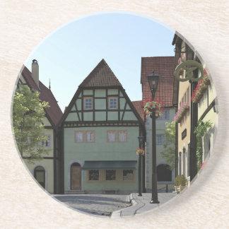 Bavarian Town Street Corner Scene Coaster
