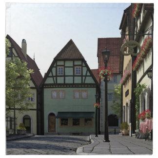 Bavarian Town Street Corner Scene Napkin