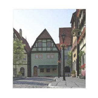 Bavarian Town Street Corner Scene Notepad