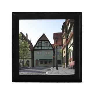 Bavarian Town Street Corner Scene Small Square Gift Box