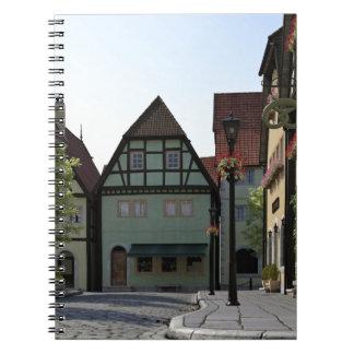 Bavarian Town Street Corner Scene Spiral Notebook