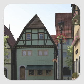 Bavarian Town Street Corner Scene Square Sticker